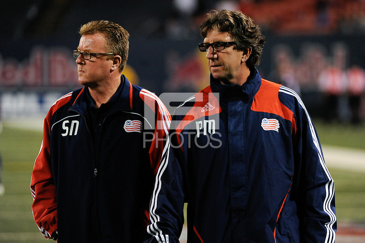 New England Revolution head coach Steve Nicol and assistant coach Paul Mariner walk off the field at halftime. The New York Red Bulls and the New England Revolution played to a 1-1 tie during a Major League Soccer match at Giants Stadium in East Rutherford, NJ, on September 18, 2009.