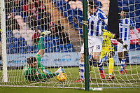 Sam Walker of Colchester United doesn't get sufficient on the ball and parries it into the path of Sammi Ondelusi (out of shot) to equalise during Colchester United vs Cheltenham Town, Sky Bet EFL League 2 Football at the Weston Homes Community Stadium on 6th January 2018