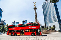 Urban transport metrobus and monument to the Independence of Mexico. The Angel or The Angel of Independence. Sculpture located in the roundabout of Paseo de la Reforma in Mexico City.<br /> (Photo: Luis Gutierrez / NortePhoto.com).<br /> <br /> Transporte urbano metrobus y monumento a la Independencia de Mexico. El &Aacute;ngel o El &Aacute;ngel de la Independencia. Escultura ubicada en la glorieta del paseo de la Reforma en la Ciudad de M&eacute;xico. <br /> (Foto: Luis Gutierrez / NortePhoto.com).