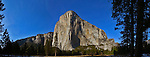 Winter scenes in Yosemite Valley located in the Yosemite National Park..El Capitan viewed from the Valley Floor..El Capitan is the largest piece of granite in the park. .It is 7569ft, 2307m, tall and was carved by a giant glacier over 100 million years ago..This is a composite panoramic image comprised of the images.