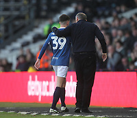 Blackburn Rovers John Buckley  is consolled byManager Tony Mowbray<br /> <br /> Photographer Mick Walker/CameraSport<br /> <br /> The EFL Sky Bet Championship - Derby County v Blackburn Rovers - Sunday 8th March 2020  - Pride Park - Derby<br /> <br /> World Copyright © 2020 CameraSport. All rights reserved. 43 Linden Ave. Countesthorpe. Leicester. England. LE8 5PG - Tel: +44 (0) 116 277 4147 - admin@camerasport.com - www.camerasport.com