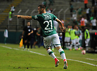 CALI - COLOMBIA - 13 - 07 - 2017: Nicolas Benedetti, jugador de Deportivo Cali celebra el gol anotado a Atletico Junior, durante partido de ida de la segunda fase llave 2 entre Deportivo Cali de Colombia y Atletico Junior de Colombia, por la Copa Conmebol Suramericana en el estadio Deportivo Cali (Palmaseca) de la ciudad de Cali. / Nicolas Benedetti, player of Deportivo Cali of Colombia celebrates the goal scored to Atletico Junior, during a match for the first leg between Deportivo Cali of Colombia and Atletico Junior of Colombia, of the second phase key 2 for the Copa Conmebol Suramericana at the Deportivo Cali (Palmaseca) stadium in the city of Cali.  Photo: VizzorImage / Nelson Rios / Cont.