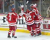 T.J. Ryan (BU - 3), Tommy Kelley (BU - 22), Mike Moran (BU - 11), Dalton MacAfee (BU - 23) - The Boston College Eagles defeated the visiting Boston University Terriers 6-4 (EN) on Friday, January 17, 2014, at Kelley Rink in Conte Forum in Chestnut Hill, Massachusetts.