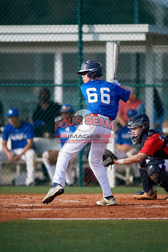 Joshua Napier (66) of Alexandria, Kentucky during the Baseball Factory Pirate City Christmas Camp & Tournament on December 28, 2018 at Pirate City in Bradenton, Florida. (Mike Janes/Four Seam Images)