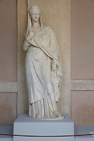Statue of Vibia Sabina, Emperor Adriano's wife (83 AC - 136 AC) taken during illegal excavations in Rome and rescued in America in 2007<br /> Rome May 3rd 2019. Quirinale Palace. Preview of the exhibition 'The art of rescuing art' , a collection of antique artworks, paintings, statues, jewelry and terracotta artefacts rescued from the command of Carabinieri for the protection of the cultural heritage in 50 years.  Many of these artworks were stolen on commission for private collections.<br /> Photo di Samantha Zucchi/Insidefoto