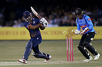 Varun Chopra of Essex is bowled out by Rashid Khan during Essex Eagles vs Sussex Sharks, Vitality Blast T20 Cricket at The Cloudfm County Ground on 4th July 2018