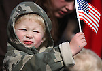 James Manning, 3, waves his flag at the Veteran's Day Parade in Virginia City, Nev., on Nov. 11, 2011..Photo by Cathleen Allison.