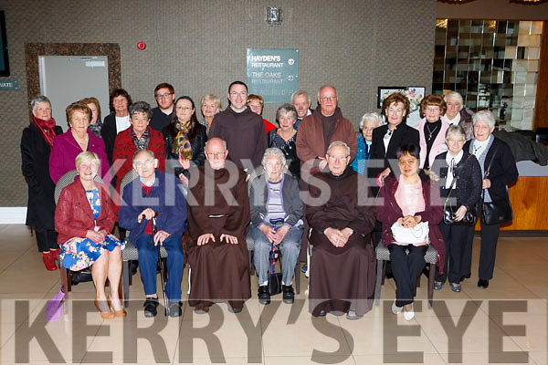 Fr Liam McCarthy and Fr Claus and their congregation at the Killarney Friary social in the Killarney Oaks Hotel on Friday night