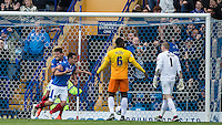 Gary Roberts of Portsmouth celebrates scoring the first goal during the Sky Bet League 2 match between Portsmouth and Wycombe Wanderers at Fratton Park, Portsmouth, England on 23 April 2016. Photo by Andy Rowland.
