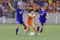 Houston, TX - Saturday Sept. 03, 2016: Dani Weatherholt, Andressa Machry, Lydia Williams during a regular season National Women's Soccer League (NWSL) match between the Houston Dash and the Orlando Pride at BBVA Compass Stadium.