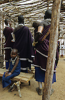 TANZANIA, Handeni, Massai, holy mass in catholic church in Massai village / TANSANIA, Handeni, Massai, Gottesdienst in katholischer Kirche in einem Massai Dorf