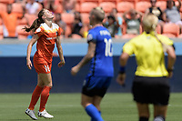 Houston, TX - Saturday May 27, 2017: Janine Beckie  reacts to missing a shot on goal during a regular season National Women's Soccer League (NWSL) match between the Houston Dash and the Seattle Reign FC at BBVA Compass Stadium.