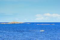 Stångmärke vid låga skär och motorbåt med havets horisont vid Svartskär i Stockholms ytterskärgård.