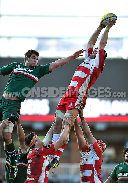 Will James rises high to win lineout ball. Aviva Premiership match, between Leicester Tigers and Gloucester Rugby on February 16, 2014 at Welford Road in Leicester, England. Photo by: Patrick Khachfe / JMP