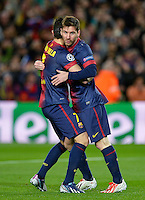 FUSSBALL  CHAMPIONS LEAGUE  ACHTELFINALE  RUECKSPIEL  2012/2013      FC Barcelona  - AC Mailand      13.03.2013 JUBEL Barca ;  David Villa (li) umarmen  Torschuetze zum 1-0 Lionel Messi