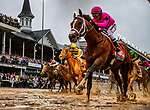 LOUISVILLE, KENTUCKY - MAY 04: Country House (left) with Flavien Prat wins the Kentucky Derby via disqualification as Maximum Security with Luis Saez (right) caused interference on the turn at Churchill Downs in Louisville, Kentucky on May 04, 2019. Evers/Eclipse Sportswire/CSM