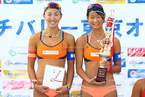 Chiyo Suzuki &amp; Satono Ishitsubo,<br /> SEPTEMBER 21, 2015 - Beach Volleyball : <br /> JBV Tour 2015 Tokyo Open<br /> Women's Award Ceremony<br /> at Odaiba Beach, Tokyo, Japan.<br /> (Photo by Shingo Ito/AFLO SPORT)