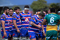 A scrum sets during the 2018 Heartland Championship Lochore Cup rugby semifinal between Horowhenua Kapiti and Mid-Canterbury at Levin Domain in Levin, New Zealand on Saturday, 20 October 2018. Photo: Dave Lintott / lintottphoto.co.nz