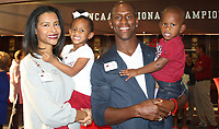 NWA Democrat-Gazette/CARIN SCHOPPMEYER Aja Hamlin and Ken Hamlin, 2017 Razorback Hall of  Honor inductee, and their children Avery and Kenneth II (Deuce) attend the VIP reception and celebration Sept. 7 at the Fowler Family Baseball and Track Training Center on the UA campus in Fayetteville.