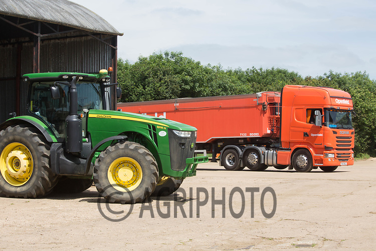 Grain lorry arriving on a farm<br /> &copy;Tim Scrivener Photographer 07850 303986<br /> ....Covering Agriculture In The UK....