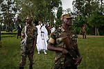 © Remi OCHLIK/IP3, Jambo, Republique Democratique du Congo, le 29 novembre 2008 - Paroisse de Jambo, le chef de la rebellion CNDP recoit l'ancien president du Nigeria, et de la Tanzanie pour poursuivre les negociations avec le pouvoir central de Kinshasa. A cette occasion, Laurent Nkunda organise un meeting...Around the church of a little town near Rutshuru, Laurent Nkunda organizes a meeting, before receiving former presidents of Nigeria and Tanzania to negociate the peace process. Former president Obasango reports that RDC president Joseph Kaliba would be ready to negociate in neutral field as Nairobi...