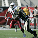 Larry Fitzgerald during the Cardinals v. Saints football game on October 3, 2004.Cardinals win 34-10..Dilip Vishwanat / SportPics