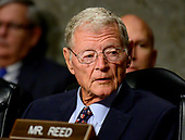 United States Senator Jim Inhofe (Republican of Oklahoma), Chairman,  United States Senate Committee on Armed Services, listens as Ryan D. McCarthy testifies on his nomination to be Secretary of the Army and Barbara M. Barrett testifies on her nomination to be Secretary of the Air Force before the on Capitol Hill in Washington, DC on Thursday, September 12, 2019.<br /> Credit: Ron Sachs / CNP