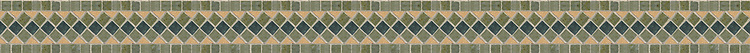 "2 7/8"" Argyle border, a hand-cut stone mosaic, shown in polished Renaissnace Bronze, Verde Luna, and Verde Alpi."