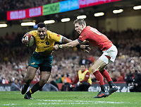 Australia's Samu Kerevi is tackled by Wales' Liam Williams <br /> <br /> Photographer Simon King/CameraSport<br /> <br /> International Rugby Union - 2017 Under Armour Series Autumn Internationals - Wales v Australia - Saturday 11th November 2017 - Principality Stadium - Cardiff<br /> <br /> World Copyright &copy; 2017 CameraSport. All rights reserved. 43 Linden Ave. Countesthorpe. Leicester. England. LE8 5PG - Tel: +44 (0) 116 277 4147 - admin@camerasport.com - www.camerasport.com