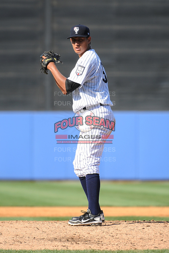 Staten Island Yankees pitcher Giovanny Gallegos (53) during game against the Connecticut Tigers at Richmond County Bank Ballpark at St.George on July 7, 2013 in Staten Island, NY.  Staten Island defeated Connecticut 6-2.  (Tomasso DeRosa/Four Seam Images)