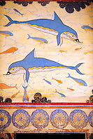 Arthur Evans reconstruction of  the Dolphin Frescos, Knossos Minoan archaeological site, Crete