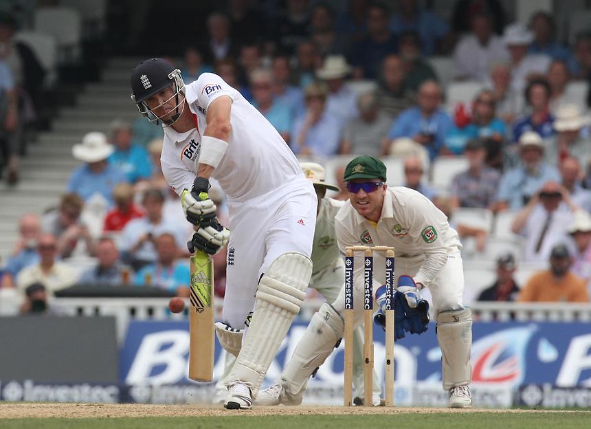 England's Kevin Pietersen  in action <br /> photo by Kieran Galvin / Camerasport<br /> International Cricket - Fifth Investec Ashes Test Match - England v Australia - Day 3 - Thursday 23rd August 2013 - The Kia Oval - London<br /> <br /> &copy; CameraSport - 43 Linden Ave. Countesthorpe. Leicester. England. LE8 5PG - Tel: +44 (0) 116 277 4147 - admin@camerasport.com - www.camerasport.com