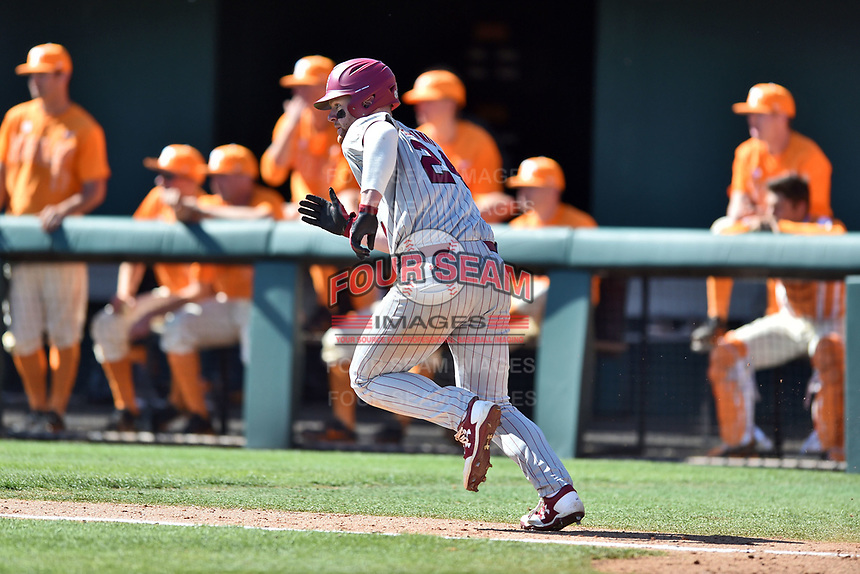 South Carolina Gamecocks left fielder Alex Destino (24) runs to first base during a game against the Tennessee Volunteers at Lindsey Nelson Stadium on March 18, 2017 in Knoxville, Tennessee. The Gamecocks defeated Volunteers 6-5. (Tony Farlow/Four Seam Images)