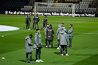 Leeds United players have a chat on the pitch at Deepdale Stadium<br /> <br /> Photographer Alex Dodd/CameraSport<br /> <br /> The EFL Sky Bet Championship - Preston North End v Leeds United - Tuesday 22nd October 2019 - Deepdale Stadium - Preston<br /> <br /> World Copyright © 2019 CameraSport. All rights reserved. 43 Linden Ave. Countesthorpe. Leicester. England. LE8 5PG - Tel: +44 (0) 116 277 4147 - admin@camerasport.com - www.camerasport.com