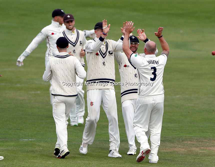 Darren Stevens of Kent is hailed by his teammates after taking the wicket of Chris Cooke during the Specsavers County Championship division two game between Kent and Glamorgan (day 3) at the St Lawrence Ground, Canterbury, on Sept 20, 2018