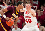 Wisconsin Badgers forward Jared Berggren (40) defends against Minnesota Golden Gophers forward Ralph Sampson III (50) during a Big Ten Conference NCAA college basketball game on Tuesday, February 28, 2012 in Madison, Wisconsin. The Badgers won 52-45. (Photo by David Stluka)