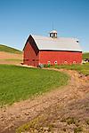 Red wooden barn with ventilator, Washington's Palouse.