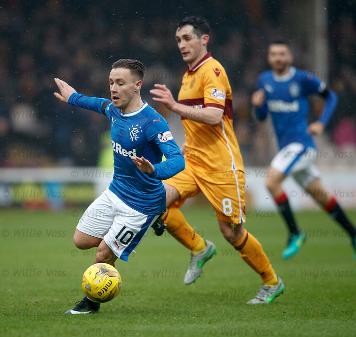Barrie McKay flies into the Motherwell box
