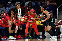 Washington, DC - August 25, 2019: Washington Mystics guard Shatori Walker-Kimbrough (32) guarded by New York Liberty guard Tanisha Wright (30) during first half action of game between the New York Liberty and the Washington Mystics at the Entertainment and Sports Arena in Washington, DC. The Mystics defeated New York 101-72. (Photo by Phil Peters/Media Images International)
