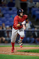 Portland Sea Dogs right fielder Chris Madera (5) runs to first base during a game against the Binghamton Rumble Ponies on August 31, 2018 at NYSEG Stadium in Binghamton, New York.  Portland defeated Binghamton 4-1.  (Mike Janes/Four Seam Images)