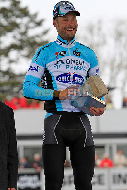 Tom Boonen (BEL) Omega Pharma-Quickstep wins the 110th edition of the Paris-Roubaix spring classic cycle race in Roubaix Velodrome. 8th April 2012 (Photo by Eoin Clarke 2012)