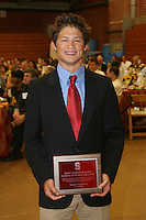STANFORD, CA - June 12:  Tanner Gardner accepts the Spirit of Stanford Award during the 2008 Athletic Board Award Luncheon at the Ford Center in Stanford, California.