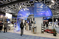 Montreal (QC) CANADA, May 4, 2007- FILE PHOTO<br /> of the FX-Reuters booth at ACI - The Financial Markets<br /> Association, May 4, 2007, during their convention in Montreal, Canada.<br /> <br /> Canadian group Thomson want to use the 7,75  Billion US $ profit  from the sale of  Thompson Learning ; its educative publications, to purchase the  British group REUTERS for 17 Billion US $ hoping to be able to compete with US based BLOOMBERG in the market of financial information.<br /> <br /> <br /> photo : (c) images Distribution