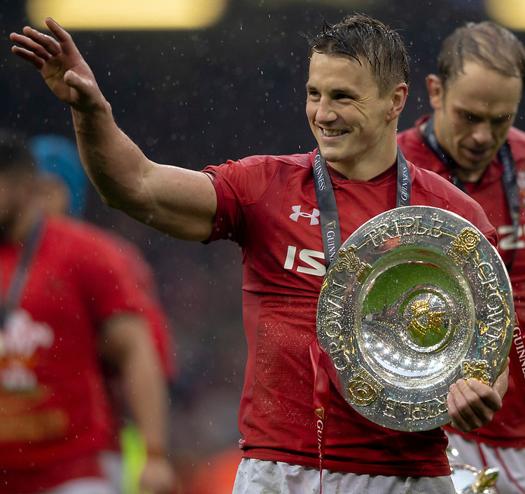 Wales' Jonathan Davies with the Triple Crown<br /> <br /> Photographer Bob Bradford/CameraSport<br /> <br /> Guinness Six Nations Championship - Wales v Ireland - Saturday 16th March 2019 - Principality Stadium - Cardiff<br /> <br /> World Copyright © 2019 CameraSport. All rights reserved. 43 Linden Ave. Countesthorpe. Leicester. England. LE8 5PG - Tel: +44 (0) 116 277 4147 - admin@camerasport.com - www.camerasport.com