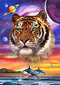 Interlitho, Lorenzo, REALISTIC ANIMALS, paintings, tiger, dolphins(KL4290,#A#) realistische Tiere, realista, illustrations, pinturas ,puzzles