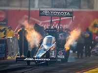 Feb 22, 2019; Chandler, AZ, USA; NHRA top fuel driver Antron Brown during qualifying for the Arizona Nationals at Wild Horse Pass Motorsports Park. Mandatory Credit: Mark J. Rebilas-USA TODAY Sports