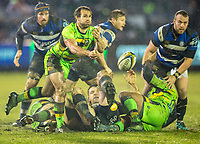 Northampton Saints' Nic Groom in action during todays match<br /> <br /> Photographer Bob Bradford/CameraSport<br /> <br /> Anglo-Welsh Cup Semi Final - Bath Rugby v  Northampton Saints - Friday 9th March 2018 - The Recreation Ground - Bath<br /> <br /> World Copyright &copy; 2018 CameraSport. All rights reserved. 43 Linden Ave. Countesthorpe. Leicester. England. LE8 5PG - Tel: +44 (0) 116 277 4147 - admin@camerasport.com - www.camerasport.com