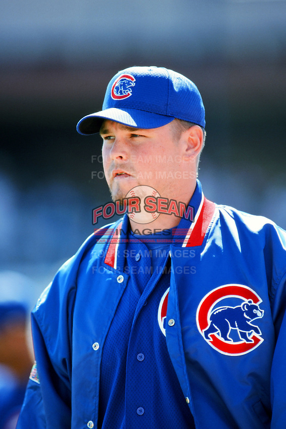 Kerry Wood of the Chicago Cubs before a 1999 Major League Baseball season game against the Los Angeles Dodgers in Los Angeles, California. (Larry Goren/Four Seam Images)