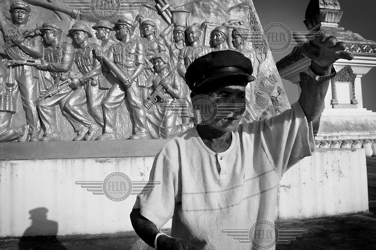 Khit Sommay, caretaker of the Lao-Vietnamese War memorial in Phonsavan.