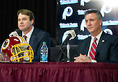 Jay Gruden, left, and Washington Redskins General Manager Bruce Allen, right, appear at a press conference at Redskins Park in Ashburn, Virginia where Gruden was introduced as the new head coach of the Washington Redskins on Thursday, January 9, 2014<br /> Credit: Ron Sachs / CNP